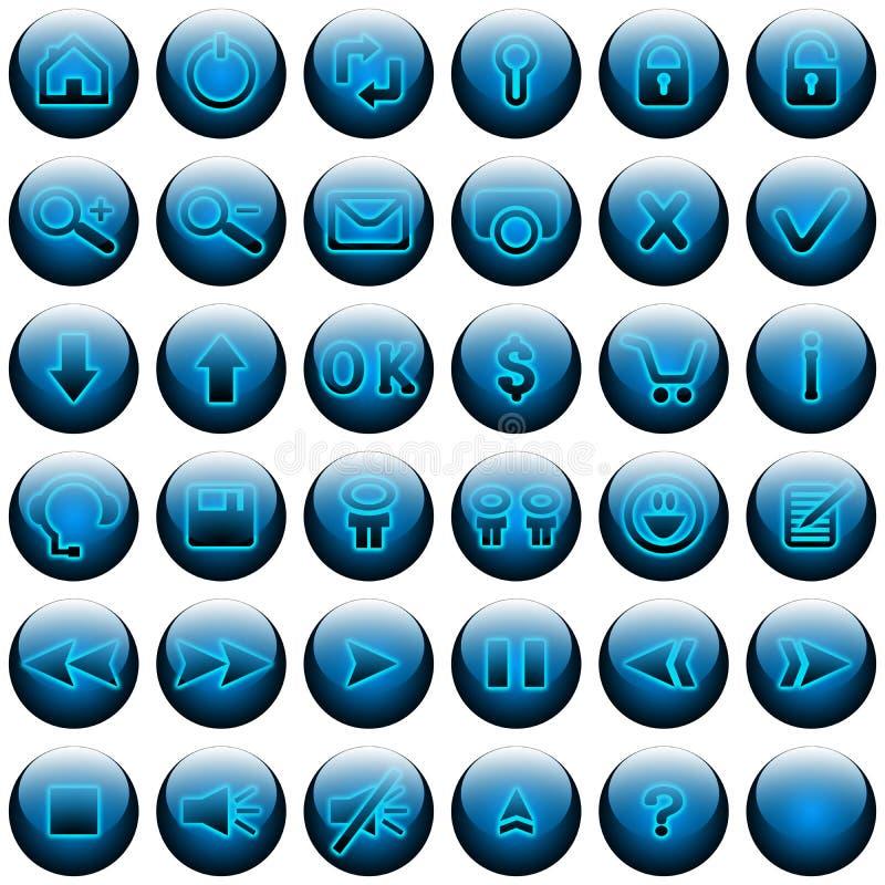 голубые кнопки установили сеть иллюстрация вектора