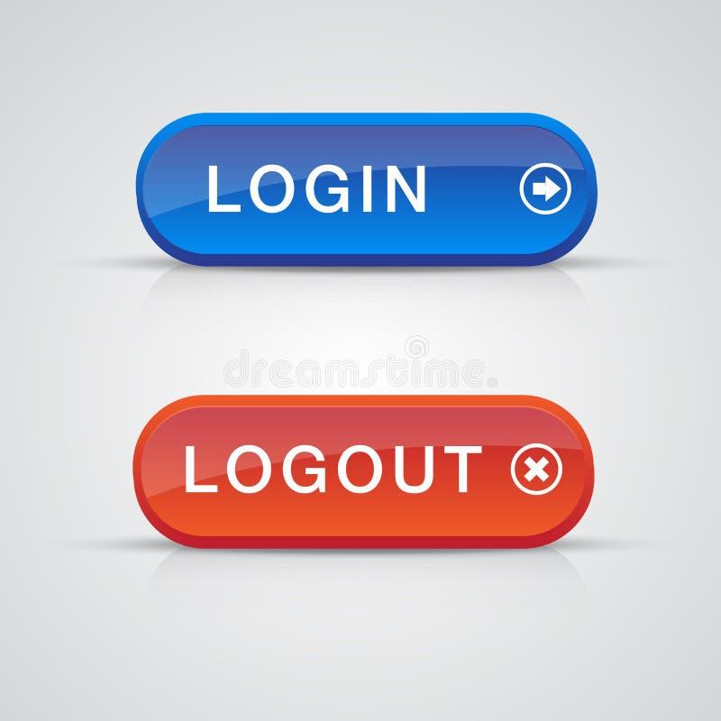 голубые кнопки login комплект красного цвета logout иллюстрация вектора