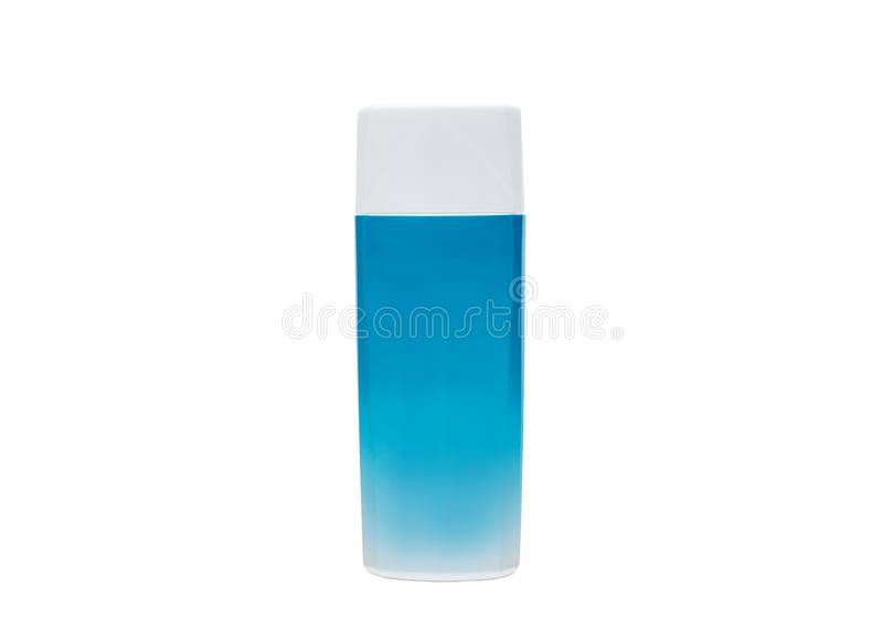 Голубые косметические пластмасовые контейнеры для сливк, лосьона, шампуня, геля, бальзама, проводника стоковые изображения