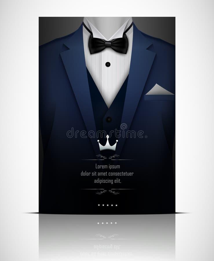 Голубые костюм и смокинг с черной бабочкой бесплатная иллюстрация