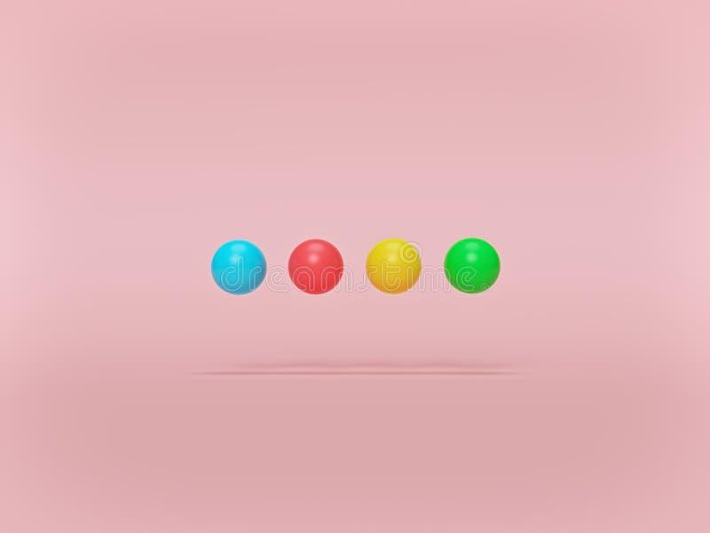Голубые, красные, желтые и зеленые покрашенные шарики на пастельной предпосылке r r иллюстрация штока