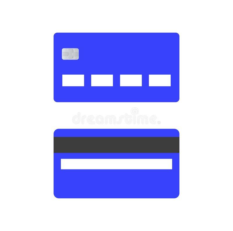 Голубые кредитные карточки Передние и задние взгляды стоковые фото