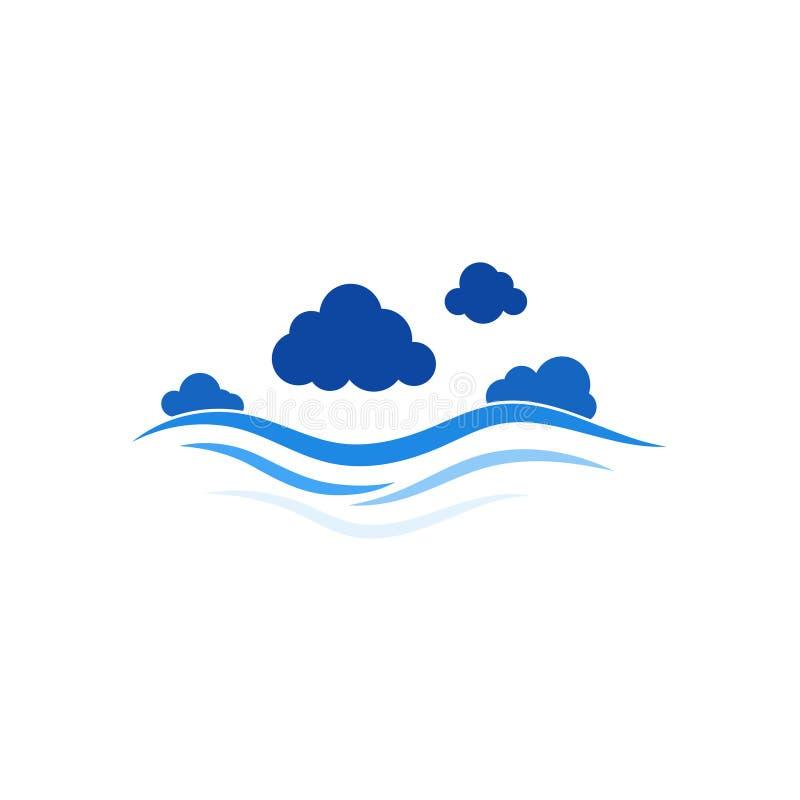 Голубые линии мочат концепцию волны с предпосылкой вектора облаков иллюстрация штока