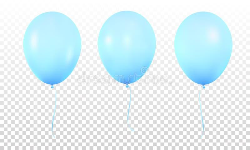 Голубые лоснистые реалистические изолированные воздушные шары Установите реалистических воздушных шаров гелия для дня рождения бесплатная иллюстрация