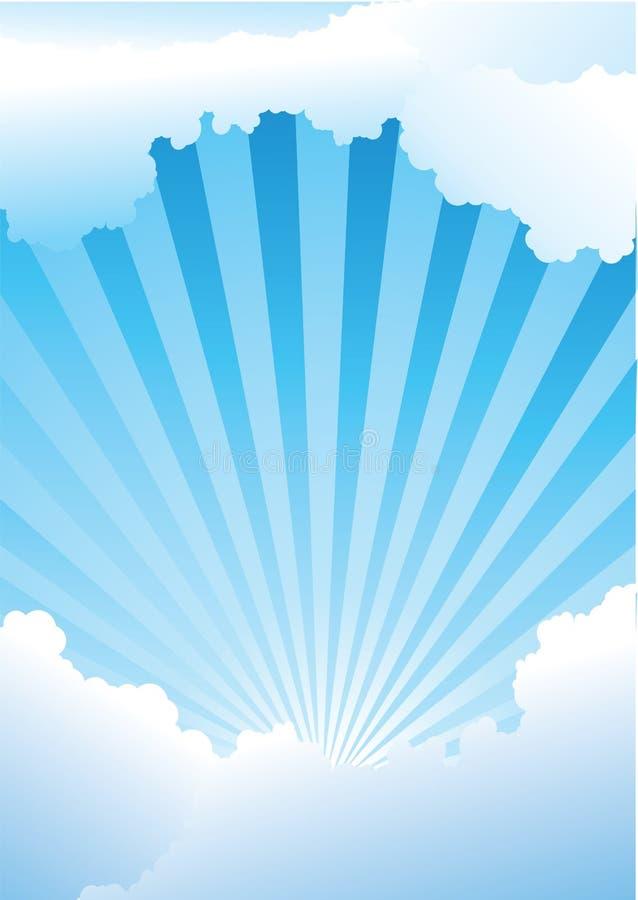 голубые лучи светя небу иллюстрация вектора