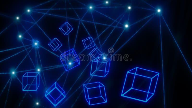 Голубые накаляя обои технологии blockchain блоков стоковые фото