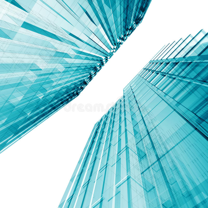голубые небоскребы иллюстрация штока
