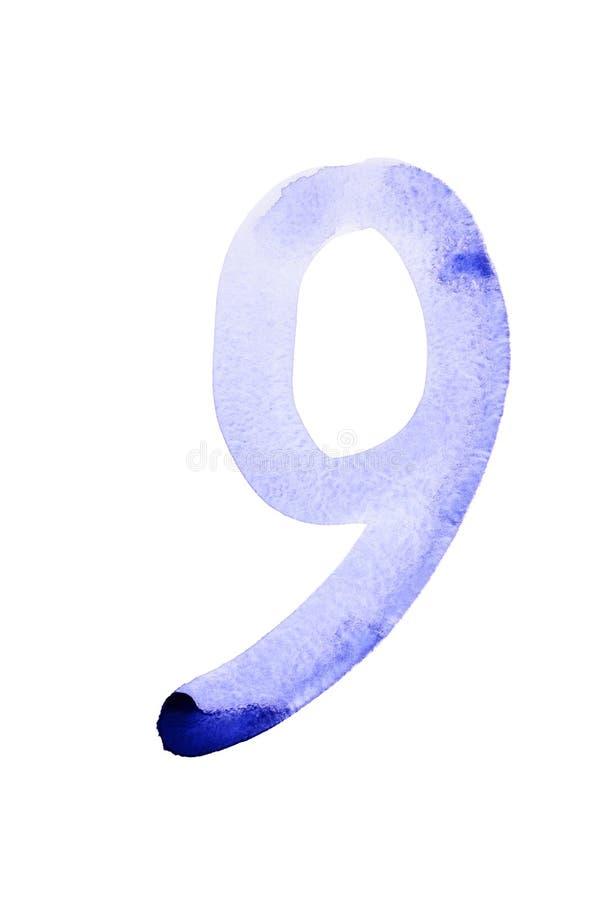 Голубые номера акварели иллюстрация штока