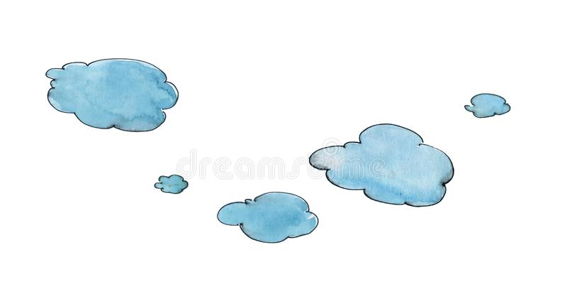 Голубые облака с черной линией контура Юмористический чертеж с акварелью r бесплатная иллюстрация