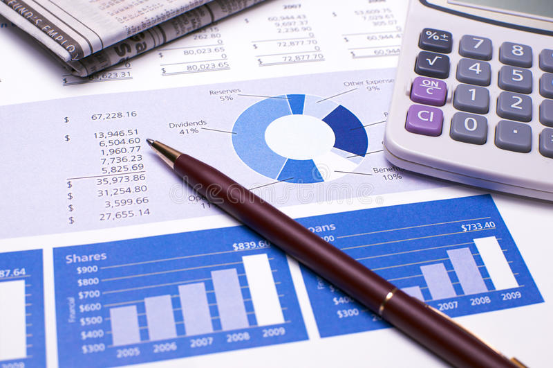 голубые отчеты о финансового планирования стоковые изображения