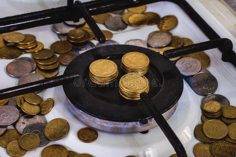 Голубые пламена естественное газосжигательного от газовой плиты на предпосылке монеток стоковое изображение