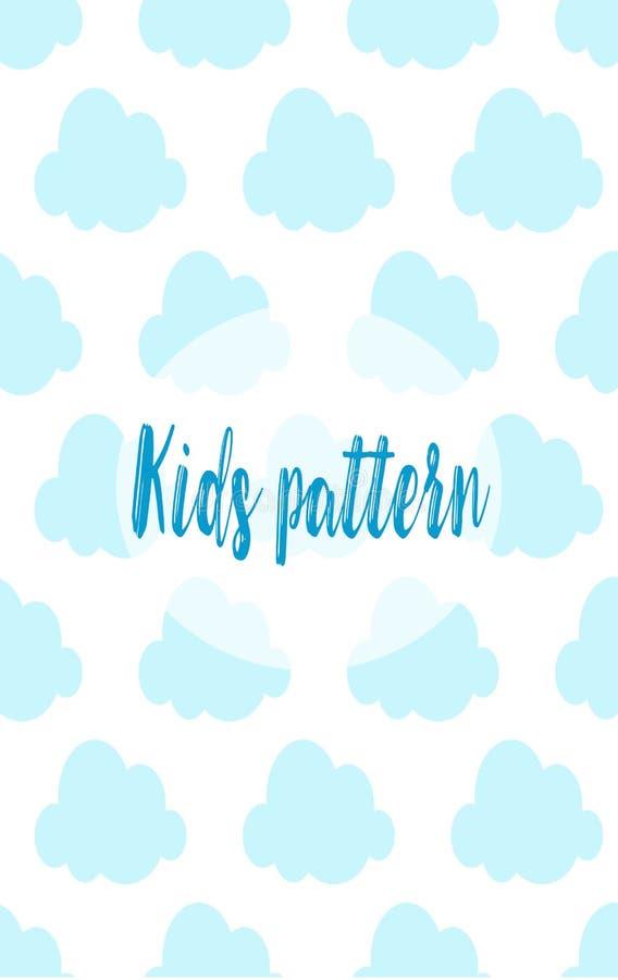 Голубые плоские облака - вектор темы детей иллюстрация штока