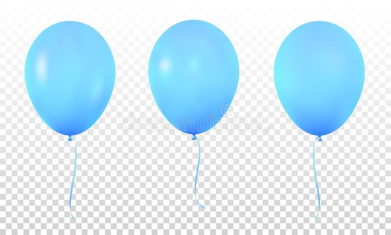 Голубые реалистические воздушные шары Установите реалистических воздушных шаров гелия для дня рождения иллюстрация штока
