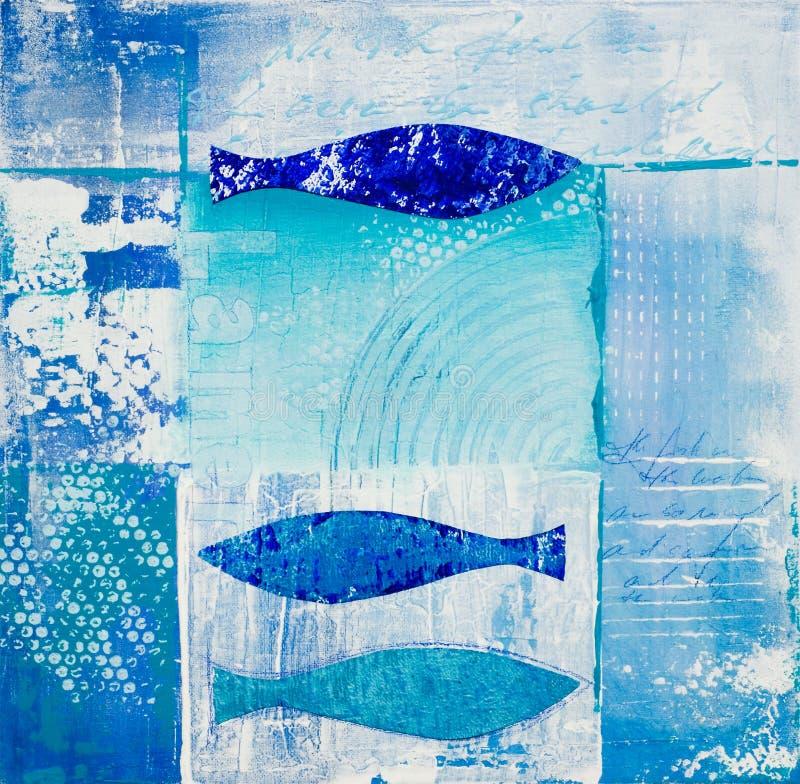 голубые рыбы коллажа иллюстрация штока