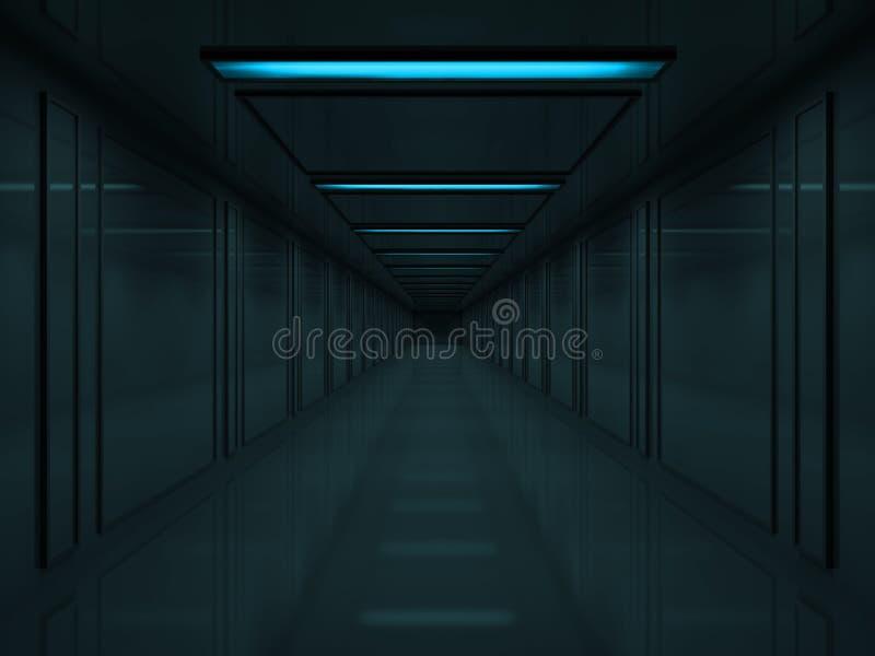 голубые светильники темноты корридора потолка 3d иллюстрация вектора