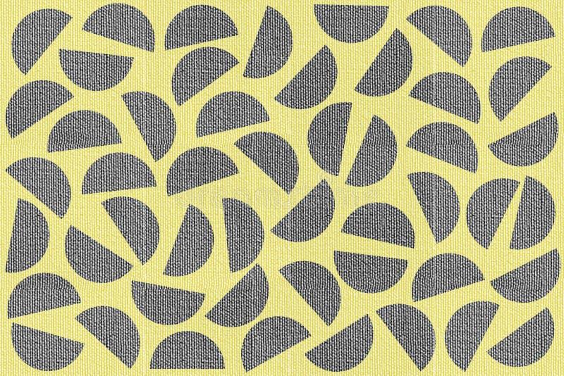 Голубые случайные полуокружности на желтой предпосылке Текстура холста Абстрактная геометрическая картина в ретро стиле для оформ иллюстрация штока