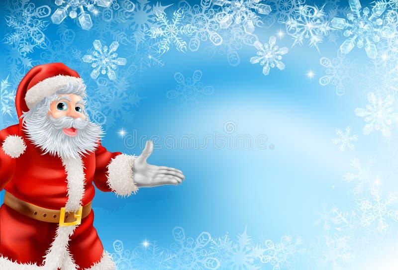 Голубые снежинки и предпосылка Санта бесплатная иллюстрация