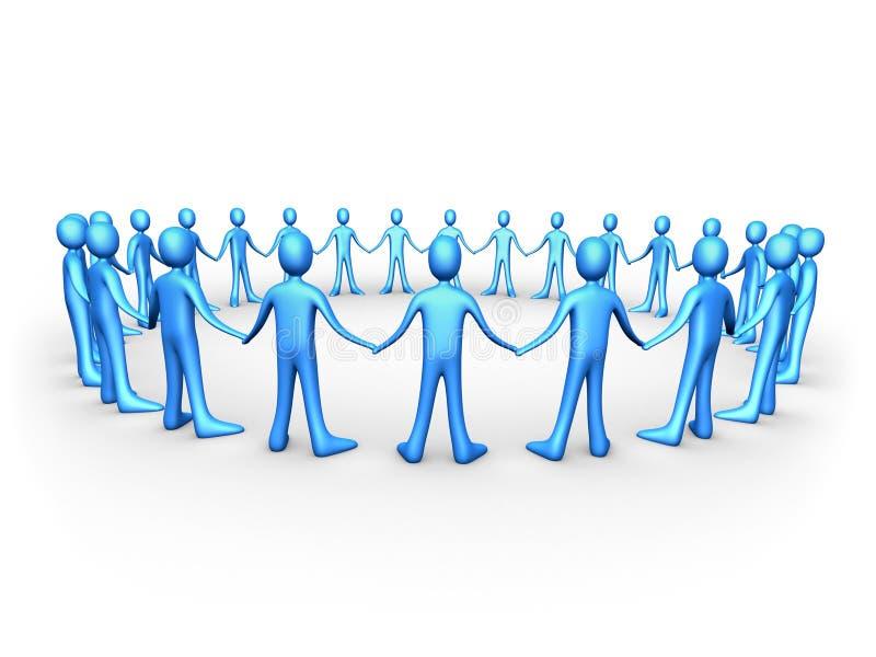 голубые соединенные команды людей иллюстрация штока