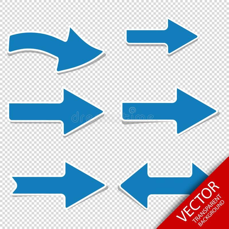 Голубые стрелки - правые и левое направление - установленный вектор - изолированный на прозрачной предпосылке бесплатная иллюстрация