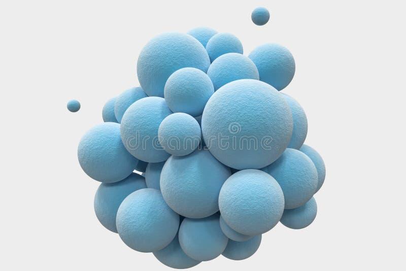 Голубые сферы с текстурированной поверхностью, случайный распределять, перевод 3d бесплатная иллюстрация