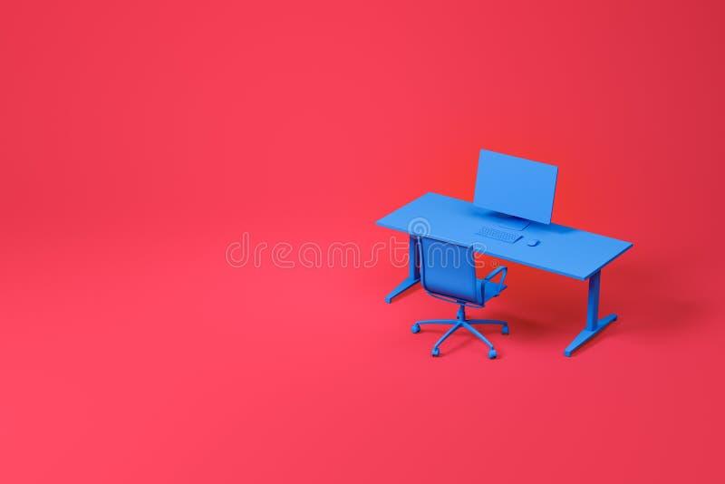 Голубые таблица компьютера и набор стула на красном цвете иллюстрация вектора
