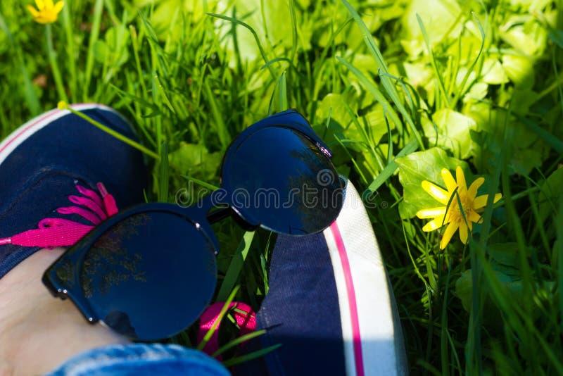 Голубые тапки и джинсы на ногах женщины сидя на gr стоковые изображения rf