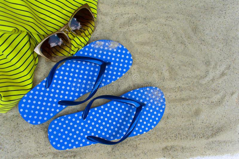 Голубые темповые сальто сальто, на песчаном пляже с seashells стоковое фото