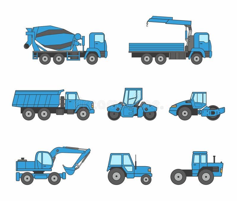 Голубые установленные значки машин конструкции бесплатная иллюстрация