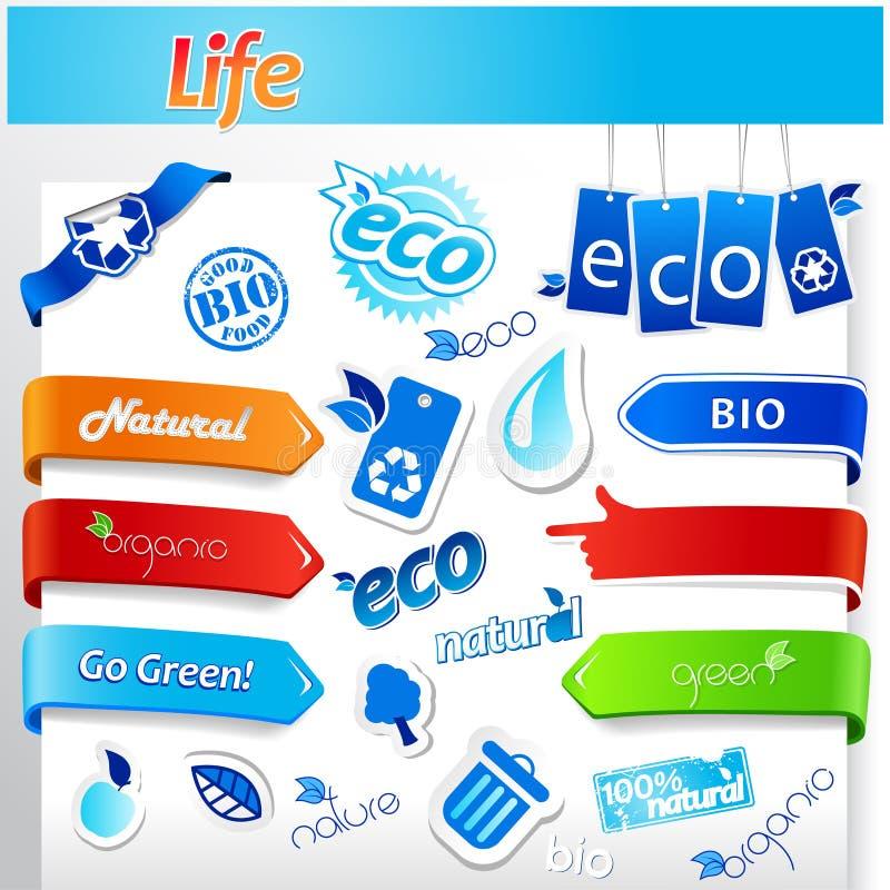 голубые установленные иконы экологичности иллюстрация штока