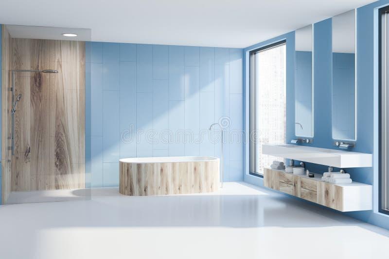 Голубые ушат, ливень и раковина bathroom бесплатная иллюстрация
