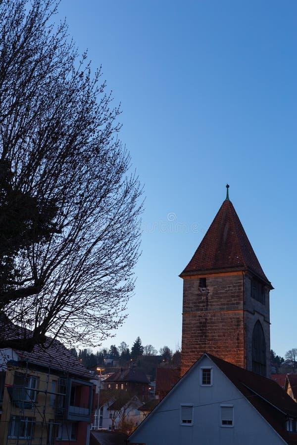 голубые фасады города часа стоковая фотография