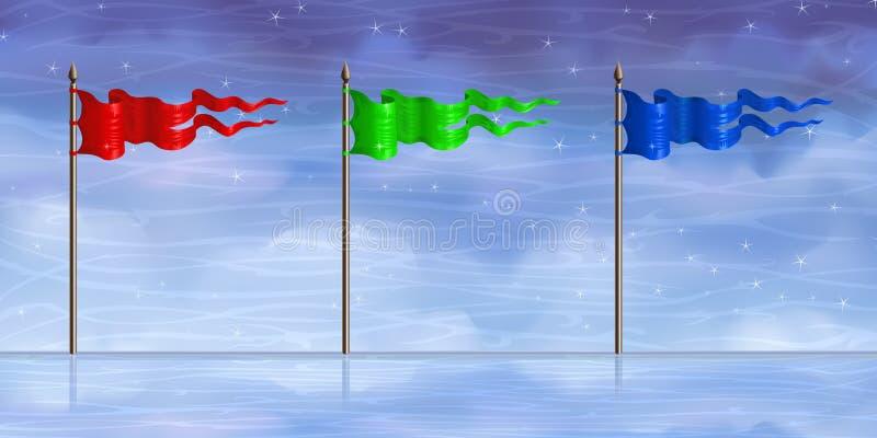 голубые флаги зеленеют красный цвет иллюстрация штока