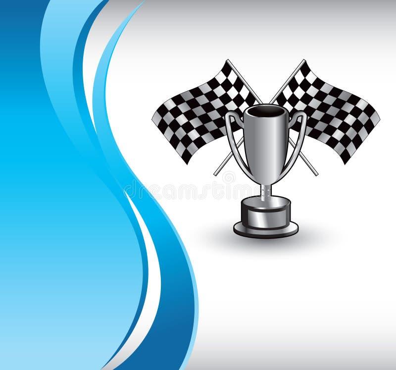 голубые флаги участвуя в гонке волна трофея вертикальная бесплатная иллюстрация