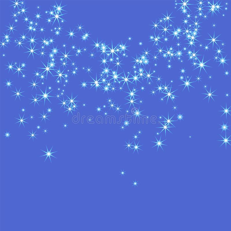 Голубые, холодные, разбросанные хаотично confetti-звезды иллюстрация вектора