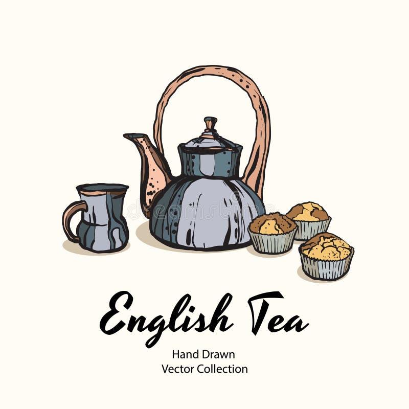 Голубые чайник, чашка и булочки вручают вычерченный старый стиль иллюстрации вектора для меню кафа, логотипа, знамени, flayer, ко иллюстрация вектора