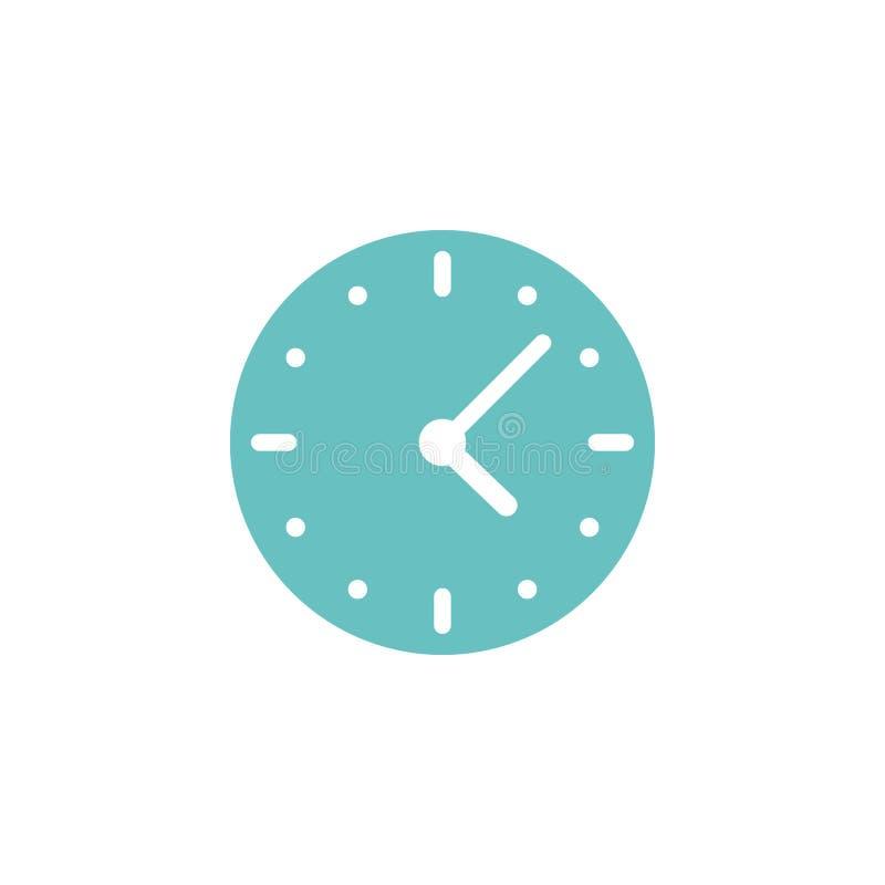 голубые часы Плоский значок изолированный на белизне иллюстрация штока