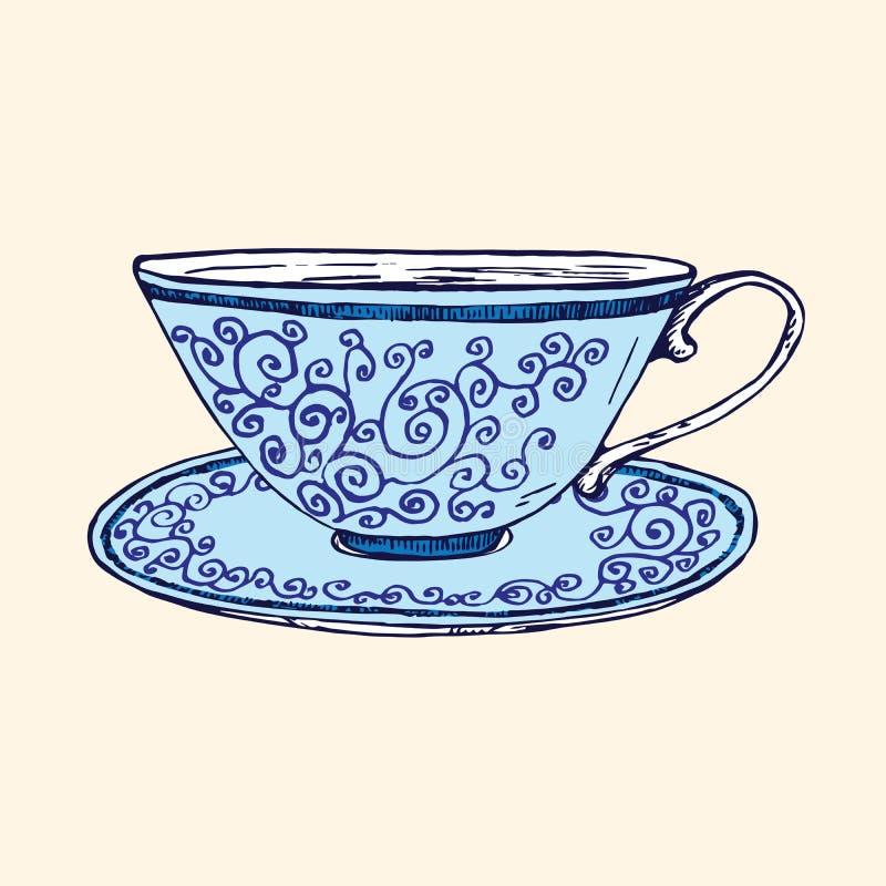 Голубые чашка и поддонник фарфора с переплетенным орнаментом, doodle руки вычерченным, простым эскизом в стиле искусства попа, ил иллюстрация вектора