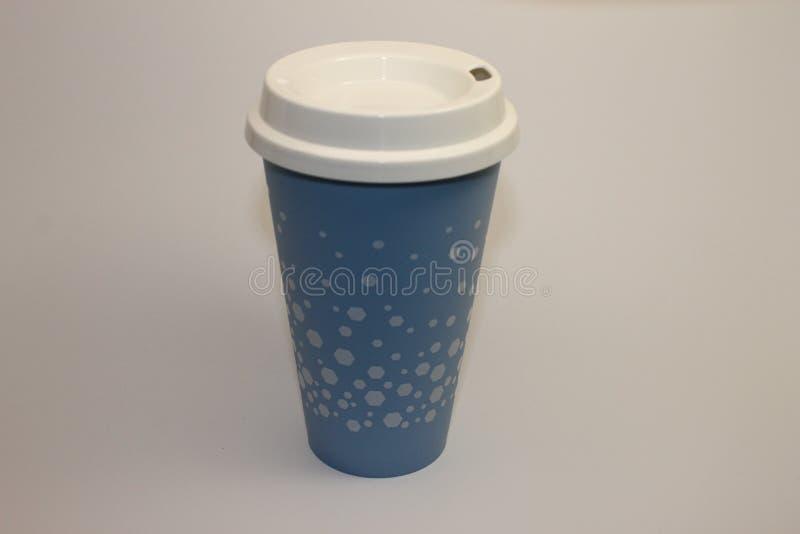 Голубые чашка кофе или вода стоковая фотография rf