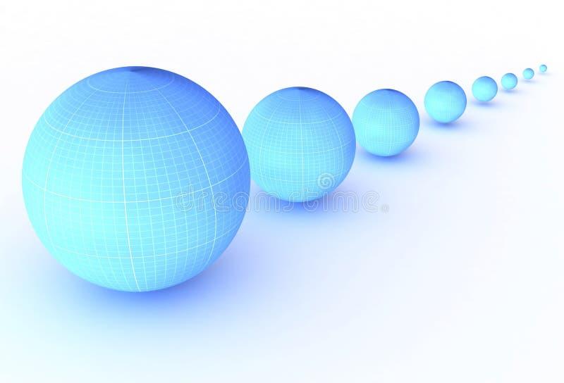 Голубые шарики в ряд в перспективе с тенью стоковые фотографии rf