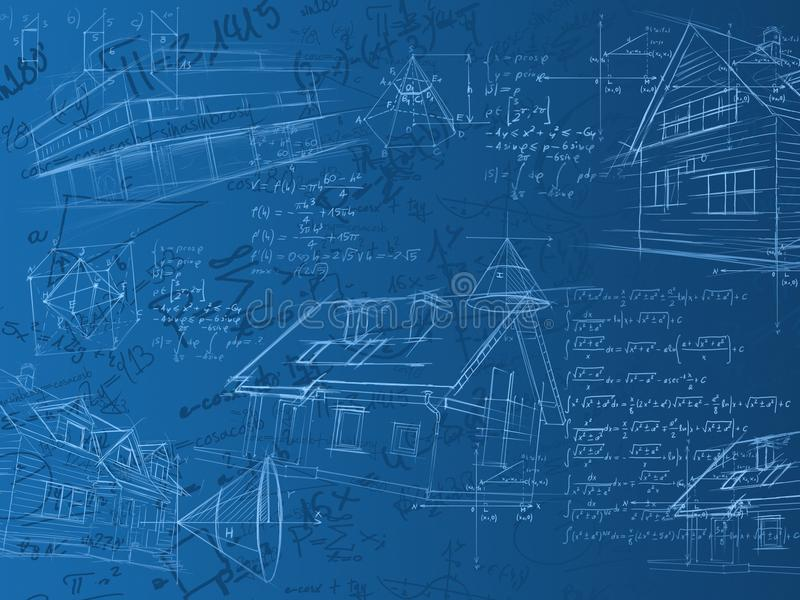 голубые эскизы примечаний формул вычисления иллюстрация вектора