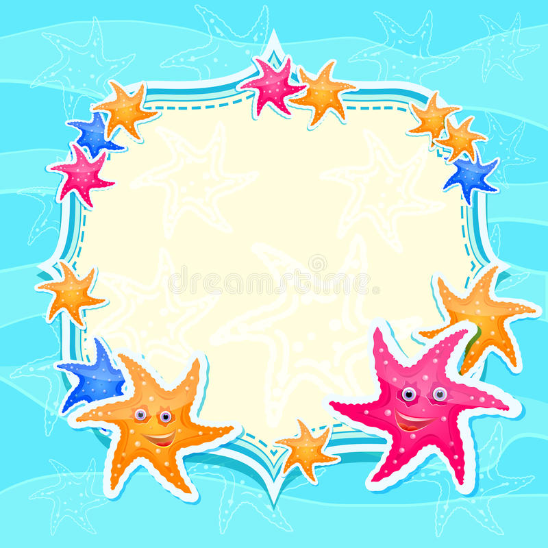 голубые яркие starfishes морского пехотинца приглашения карточки иллюстрация вектора