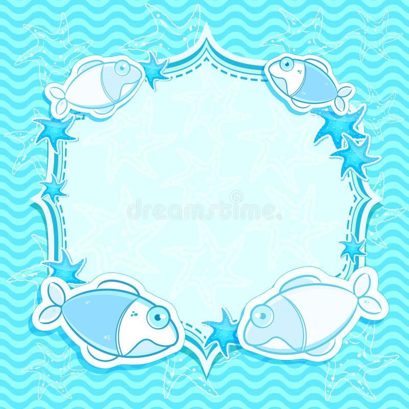 голубые starfish морского пехотинца приглашения карточки бесплатная иллюстрация
