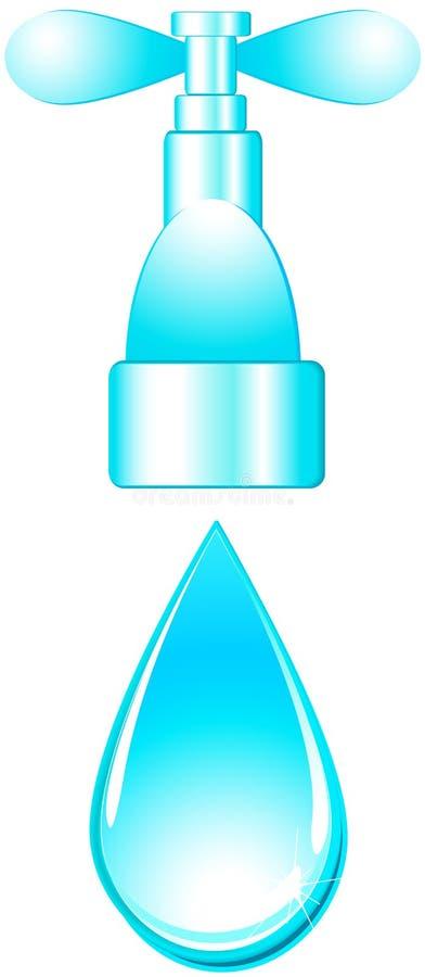 голубым вода из крана изолированная падением иллюстрация вектора