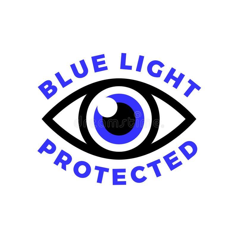 Голубым защищенный светом символ глаза, голубой свет причиняет проблемы здоровья и не должен быть использован перед временем ложи иллюстрация штока