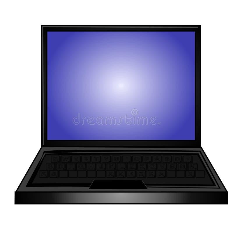 голубым компьтер-книжка изолированная компьютером иллюстрация вектора