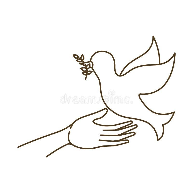 Голубь мира с открытым характером воплощения рук иллюстрация вектора