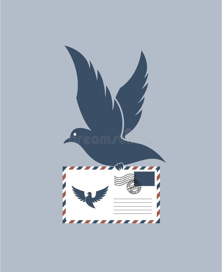Голубь с конвертом бесплатная иллюстрация
