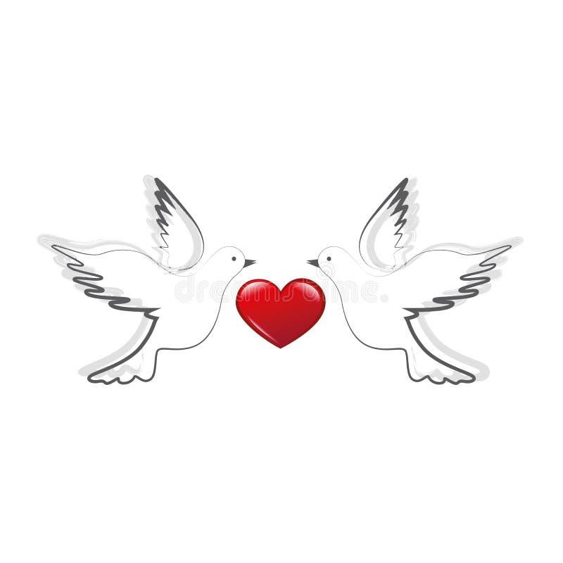 2 голубя с красными любовью сердца и концепцией мира иллюстрация штока