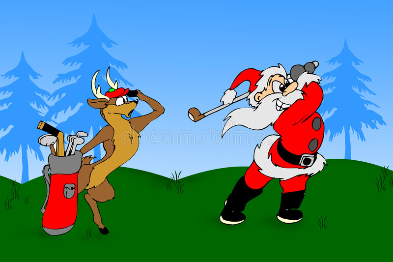 гольф играет santa стоковое изображение rf
