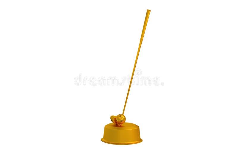 Гольф-клуб и трофей шарика золотой иллюстрация вектора
